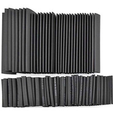 Drop Ship 127pcs/lot Heat Shrink Tubing 7 Sizes 2:1 Black Tube Car Cable Sleeving Assortment Wrap Wire Kit with Polyolefin Tub