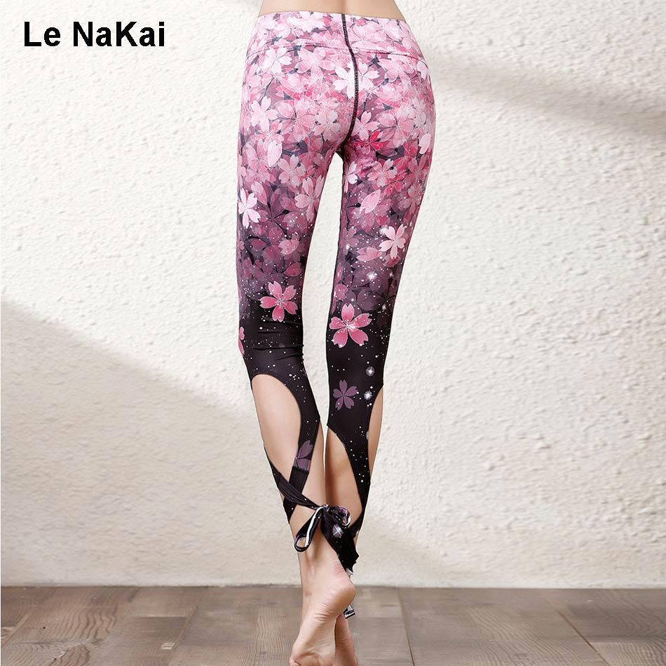 Ornamental Sakura Floral Print Bandge Ballet Spirit Yoga Pants for Women Fitness Turnout Dance Legging Workout Cross Dance Pants