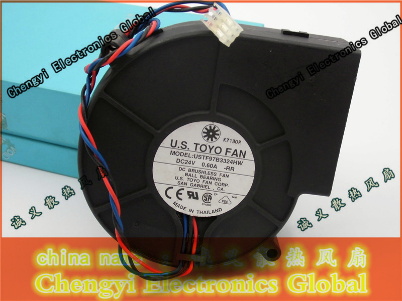 Free Shipping DC24V 0.60A Server Cooling Fan For Delta Electronics USTF97B3324HW -RR Server Blower Fan 3-wire 97x97x33mm