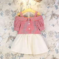 2017 Summer Lady Pastoral Style Girls Clothing Sets Red Plaid Shirts White Short Skirt 2Pcs Suits