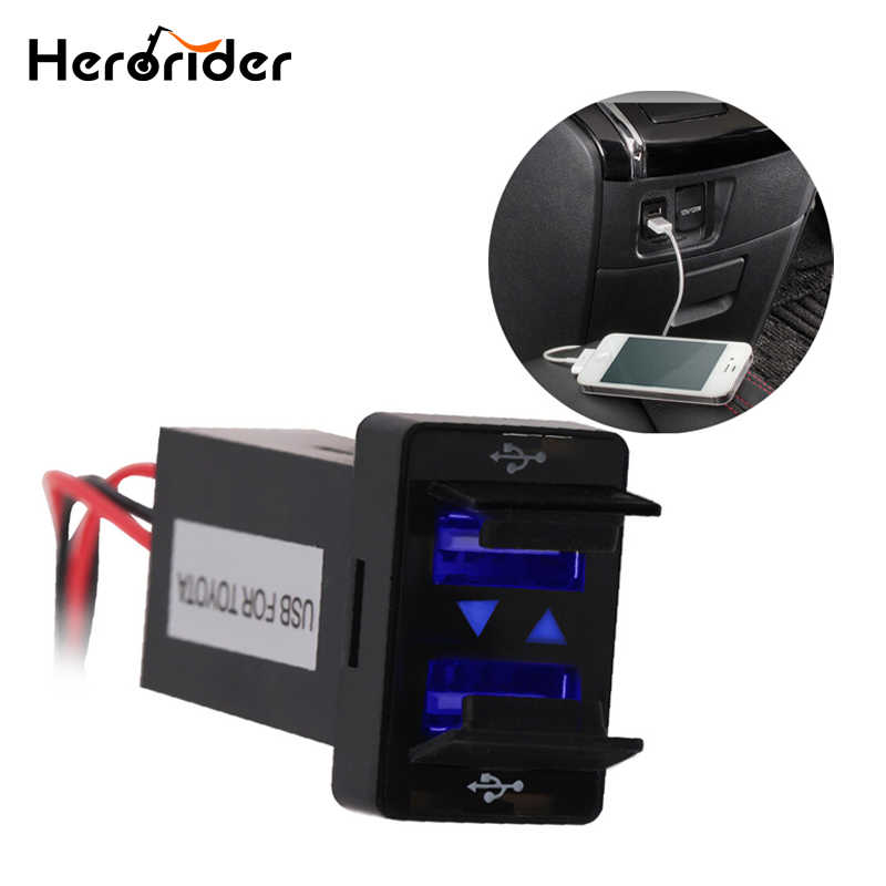 Herorider Dual USB Car Charger Waterproof 2.1A Power Adapter Socket For TOYOTA USB Charge Socket Car Charger For Ipad Samsung