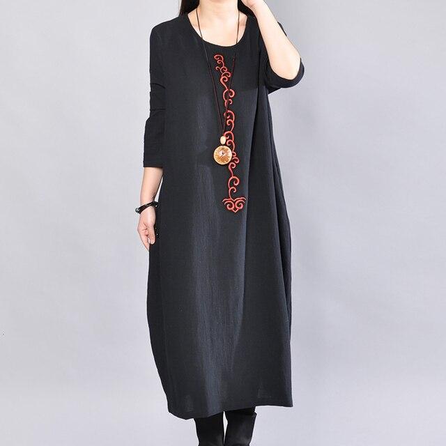 P Ammy  Cotton & Linen Plus Size Retro Plain Mid-Long Dress lagenlook  voguees Trend long shirts linen tunics 3