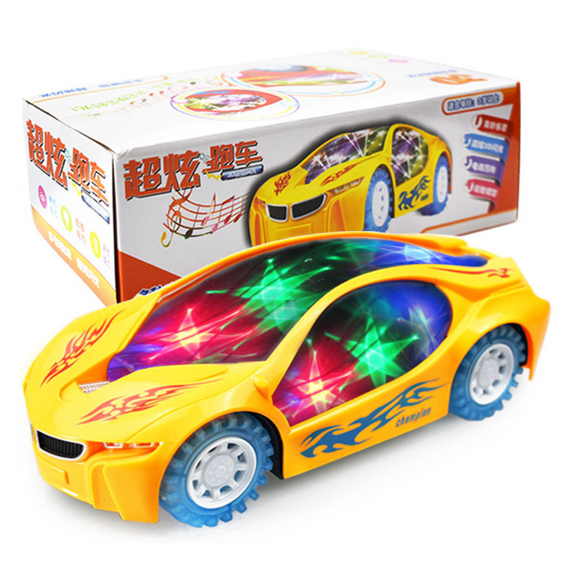 3D Flashing Sport Car Toys Electric Music Car Model Toys Gift for Boys Kids Children Cool Lights Glow In Dark