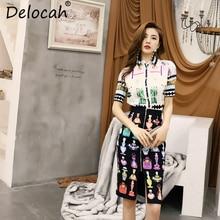 Delocah New Women Spring Summer Vintage Suits Runway Fashion Designer landscape Printed Shirt+Elegant Slit Skirt Two Pieces Set