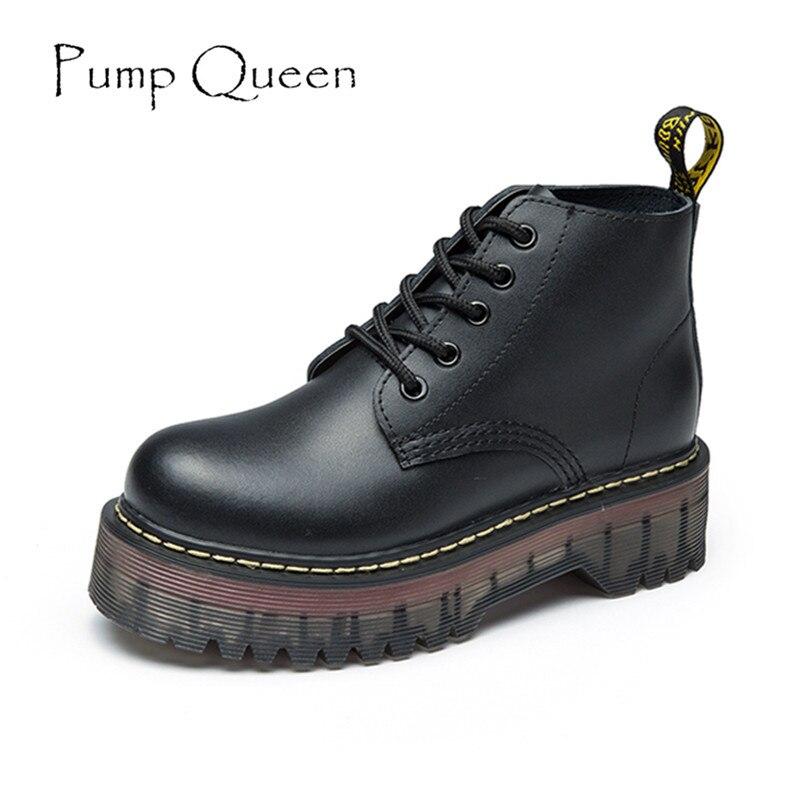 Ботинки, женская обувь на платформе, женские винтажные ботильоны сезона осень-зима 2018, на шнуровке, на высоком Плоском Каблуке, из натуральн...