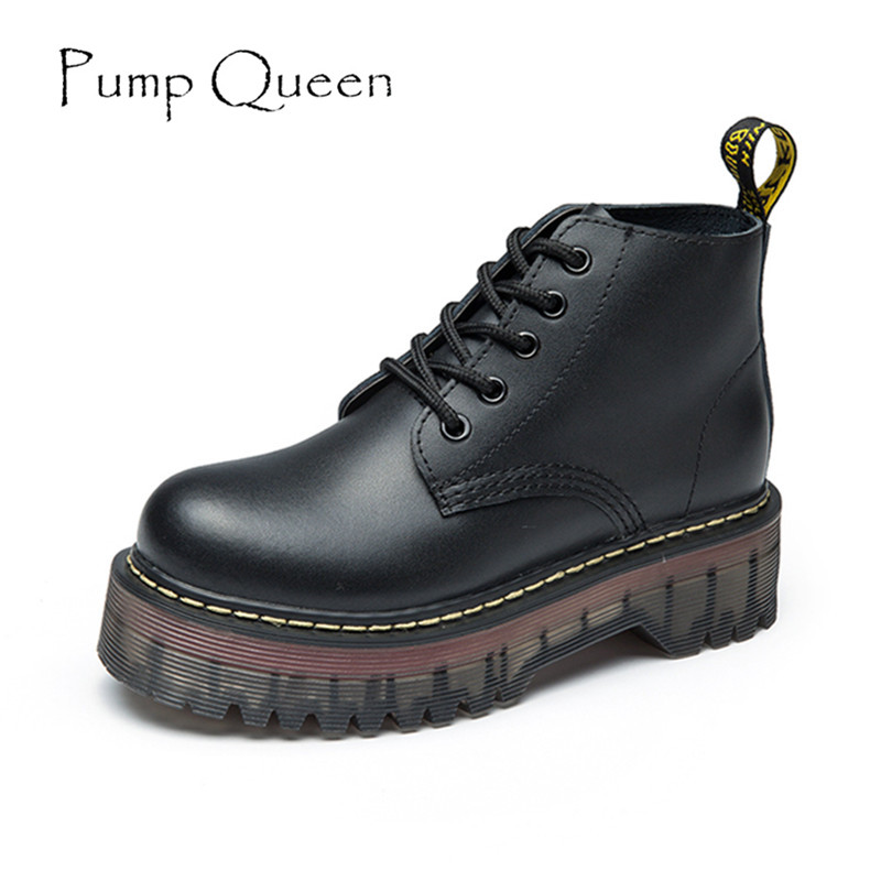 2016 New Autumn Women Ankle Boots Flat Heels Platform Shoes Vintage Genuine Leather Martin Boots Female