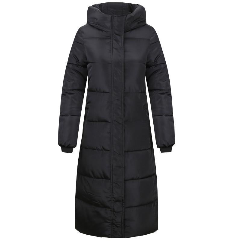 Zimní bavlněné oblečení 2019 nové dámské velkoformátové jednobarevné zhušťovací bunda korejský tenký nepromokavý kabát s dlouhými sekcemi WS08