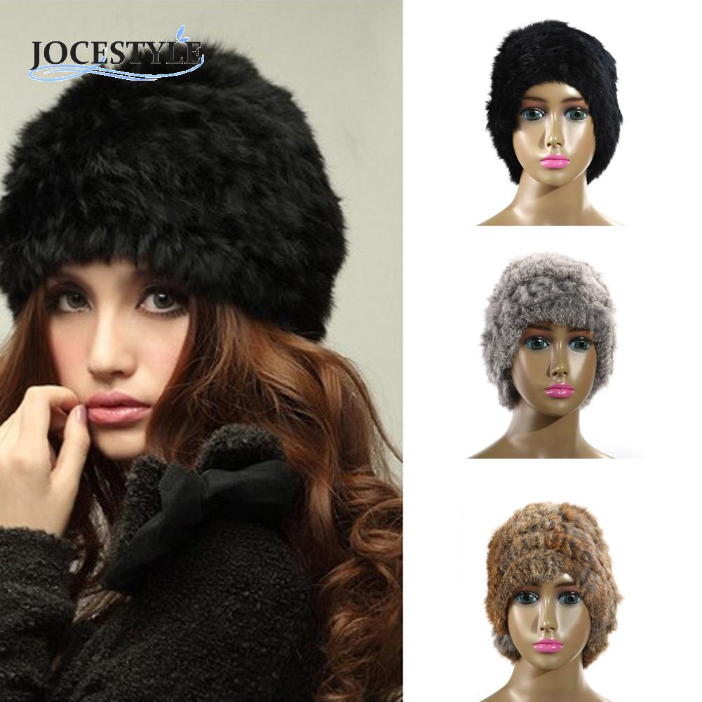 Winter Cap Warm Rabbit Fur Knitted Cap For Russian Soft Cold-Proof Beanie Hat Fur Pompons Ear Protect Casual Cap Bonnet Homme