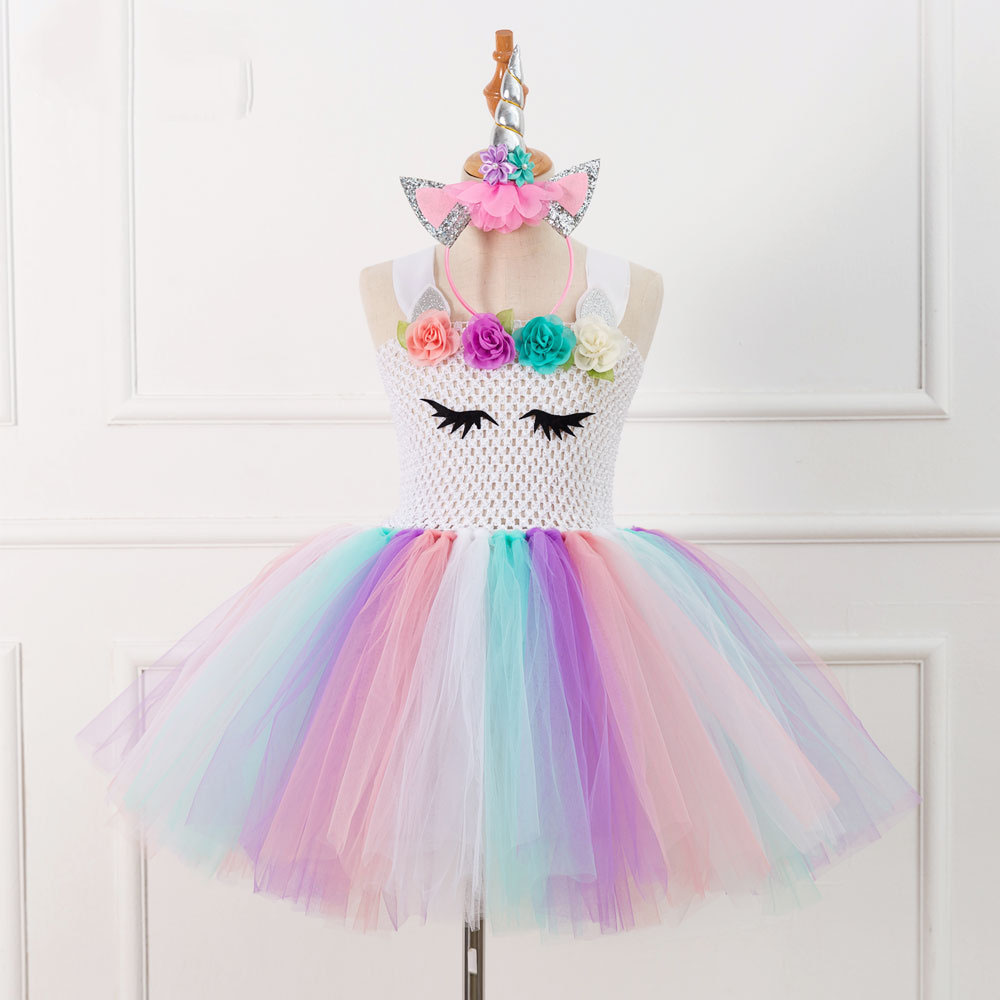Brand Flower Girls Unicorn Tutu Dress Pastel Rainbow Princess Girls Birthday Party Dress Children Kids Halloween Unicorn Costume pastel girls flower unicorn tutu dress sweet girl birthday party dress children kids tulle princess dress fancy unicorn costume