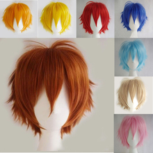 SNOILITE Synthetic Straight Full Short Wig Cosplay Party Hair Halloween Heat Resistant brown red blue blue Women man wigs