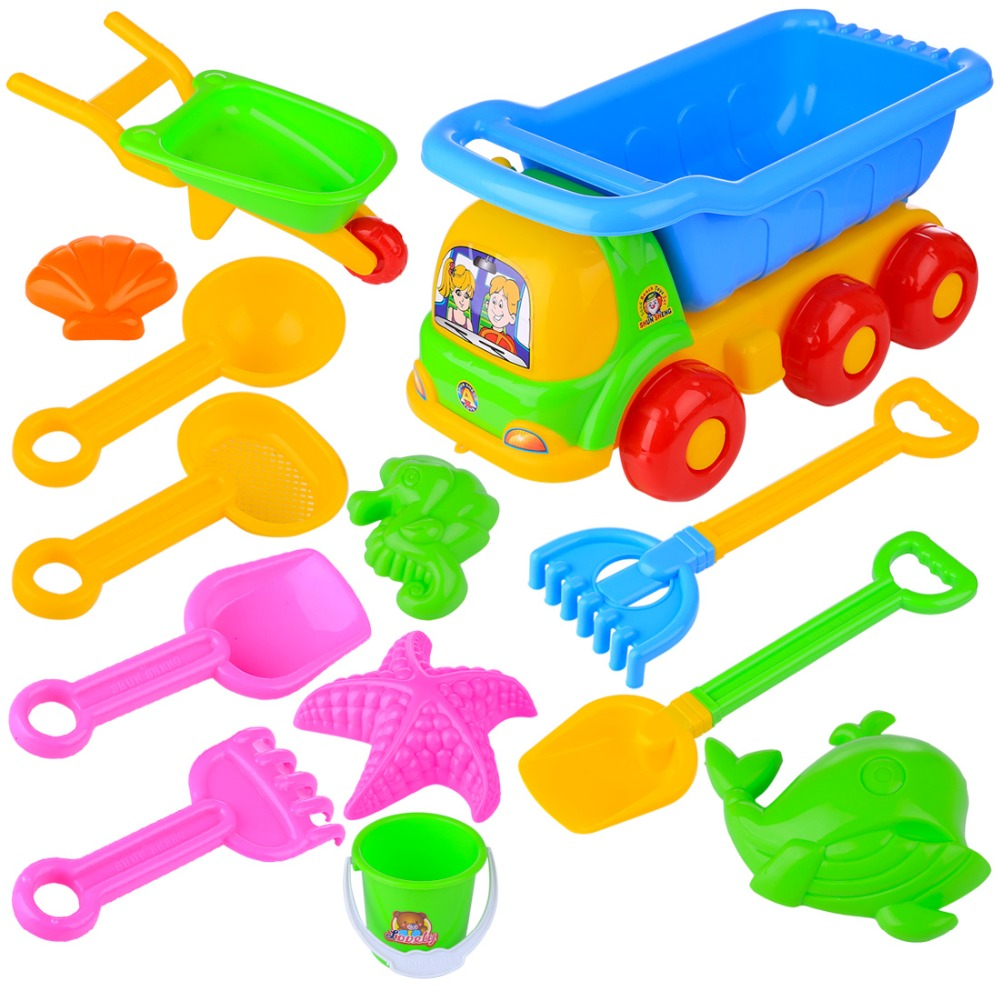 13Pcs Children Outdoor Beach Sand Toy Beach Bucket Shovel Wheelbarrow Playset Water Game Sand Playing For Kids - Color Random