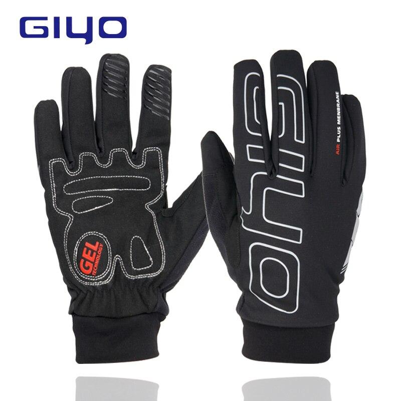 GIYO Winter Outdoor Sport Cycling Gloves Waterproof Bicycle Gloves Men Bike Gloves Thermal Fleece Cycling Gloves Gel Full Finger