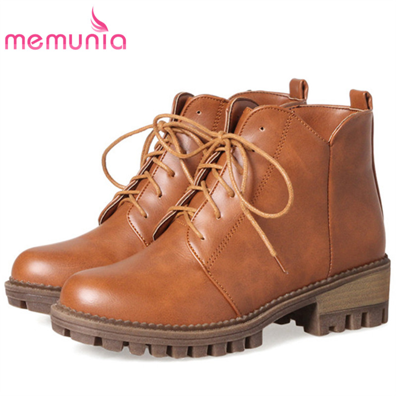 MEMUNIA Large size 34-44 ankle boots for women fashion boots female in spring autumn med heels shoes PU zip solid hot sale hot sale big size 32 44 fashion spring autumn women shoes sexy solid pu leather platform ankle strap high heels augz 958