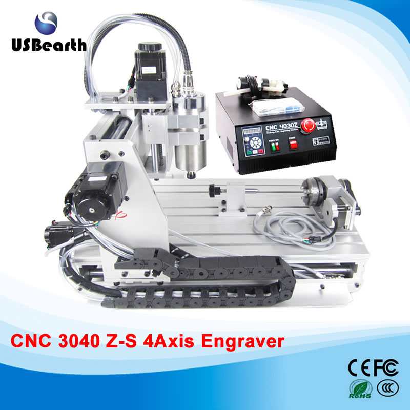 Mini cnc router 3040 Z-S, 4 axis drilling milling machine with wireless handwheel and engravnig clamp, free tax to Russia 3040zq usb 3axis cnc router machine with mach3 remote control engraving drilling and milling machine free tax to russia