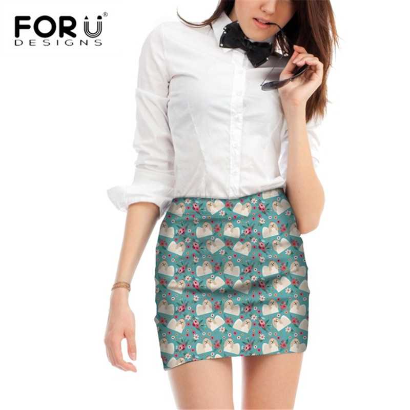 FORUDESIGNS Cartoon Shih Tzu Printing Women Beach Skirts Ladies Flower Pattern Mini Skirts for Females Cute Puppy Party Bottoms in Skirts from Women 39 s Clothing
