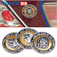 Aluminium Car Animal Stickers Round Shape Lion/eagle/tiger Emblem Chrome Badge Decal