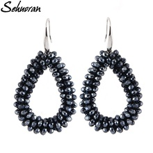 Sehuoran Dangle Earrings For Woman Crystal Faceted Beads Handmade Big Earring Long Pendants Hot Sale Jewelry Brincos