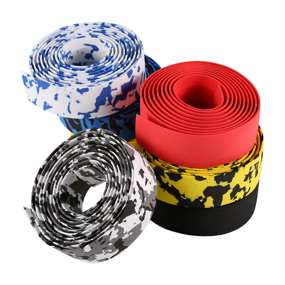 2pcs Bike Bicycle Handlebar Anti-slip Foam Grips Tape Wrap With 2 Bar Plugs