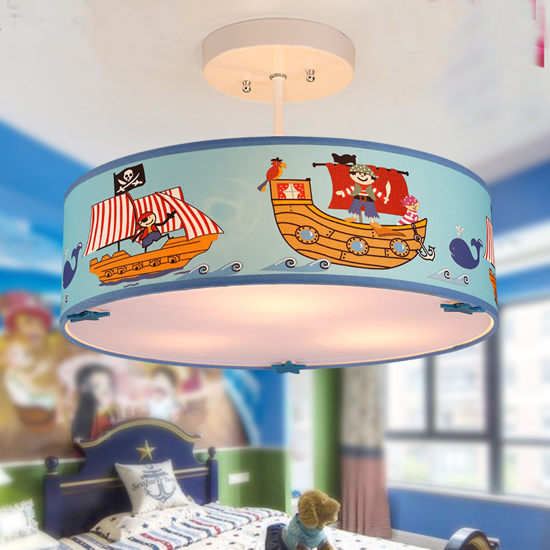Chambre à coucher moderne pour enfants, dessin animé mignon, bateau Pirate méditerranéen, Navigation, protection des yeux, lampe suspendue ronde en tissu