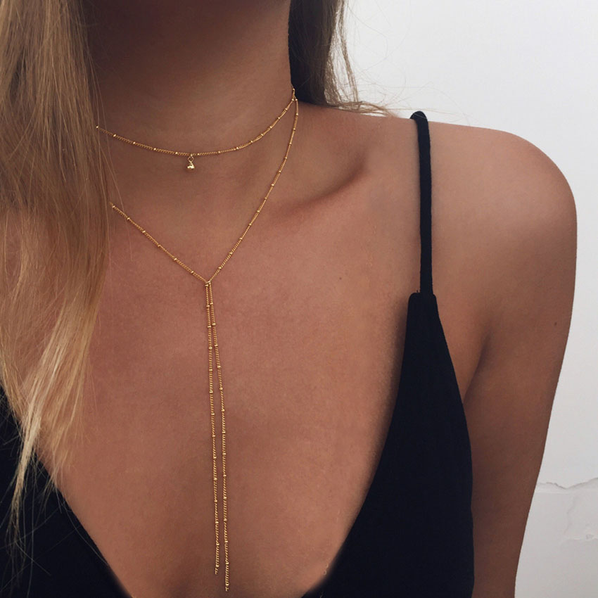 Gold Color Chain Choker Necklace Long Beads Chocker Necklaces For Women
