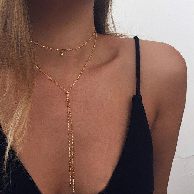 2017 bạc vàng đơn giản chuỗi màu choker vòng cổ vòng cổ dài hạt tassel chocker necklaces đối với phụ nữ cổ áo collier ras du cou