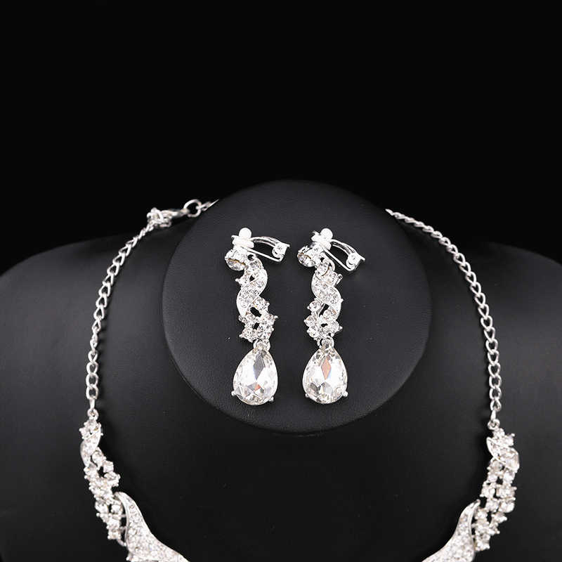 Crystal Necklace With Earrings Bridal Accessories Jewelry Set For Wedding Jewelry Set Silver Women Accessories Collares