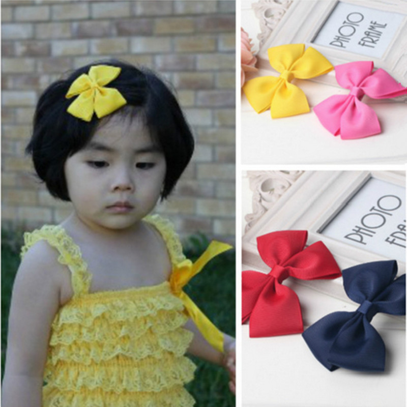 2pc fashion summer girl solid hair ribbon bows clip flower accessory headwear snap barrettes hair accessories hot clips yiwu