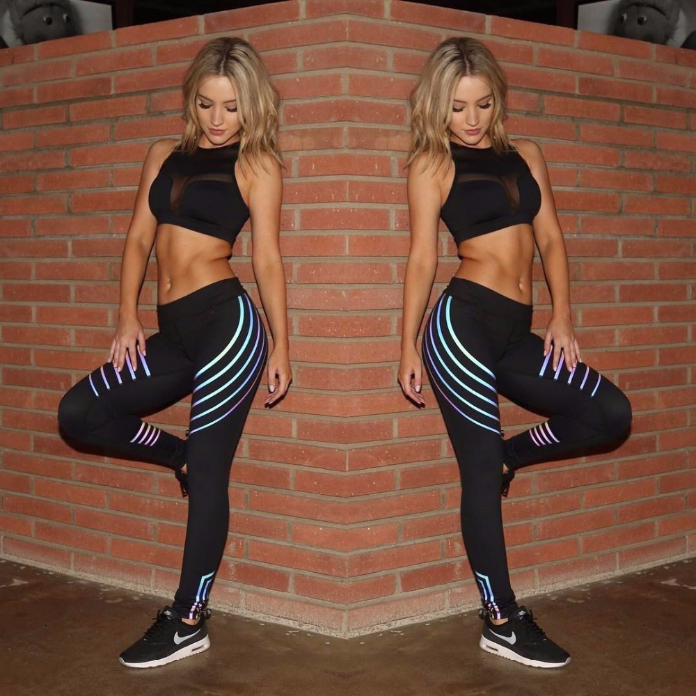 Patty Both Reflective Leggings Stripes Shiny Fitness Yoga Pants Tights Sportswear Tracksuit for Women Female Night Glowing Tight