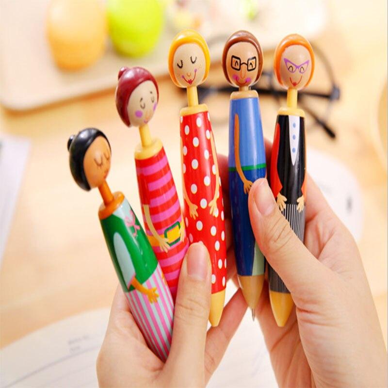 5 Stks Kawaii Cartoon Balpen Pop Baby Balpen Leuke Student Gift Kantoor School Briefpapier Creatieve Houten Druk Klikken Pen