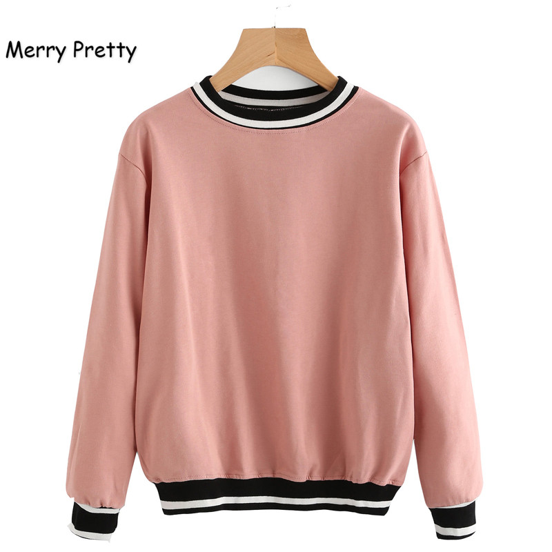 Merry Pretty New Fashion Women Sweatshirt Pink Long Sleeve O-Neck Hoodies Striped Patchwork Thread Pullovers Casual Sweatshirts