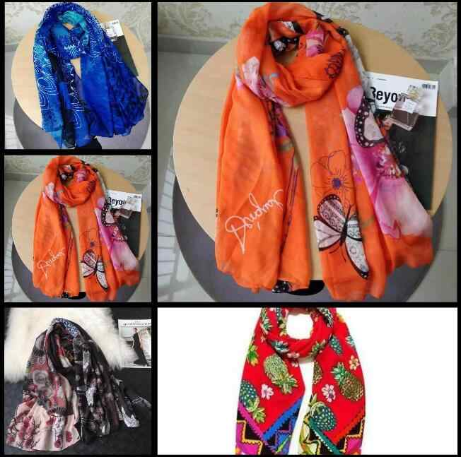 ,2019 Fashion desiguers Brand Women Summer Scarf Spain Floral Shawl Ladies Print Wrap Scarve