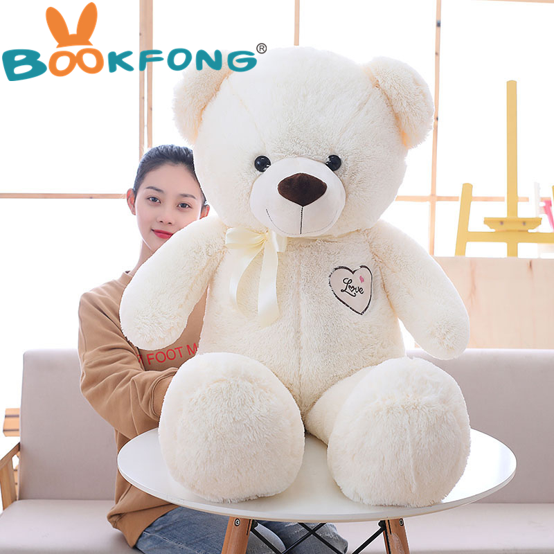 110cm Cute Stuffed Teddy Bear Wear Bowknot Plush Toy Soft Animal Bear Doll Kids Toy Kawaii Birthday Gift for Girlfriend baby rompers 100