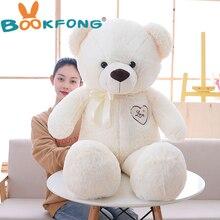 110cm Cute Stuffed Teddy Bear Wear Bowknot Plush Toy Soft Animal Bear Doll Kids Toy Kawaii Birthday Gift for Girlfriend