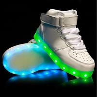 USB Charging Led High Top Children Shoes With Light Up Kids Casual Boys Girls Luminous Glowing