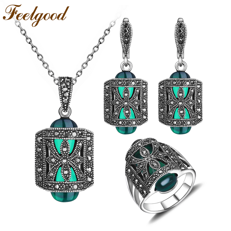 Feelgood Unique Antique Silver Color Jewellery Set Green Resin And Rhinestone Fa