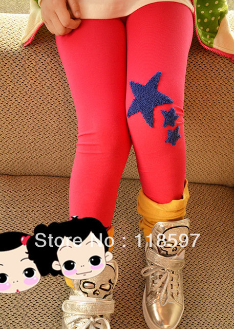 2013 spring 100% cotton female child legging five-pointed star skinny pants legging stockings