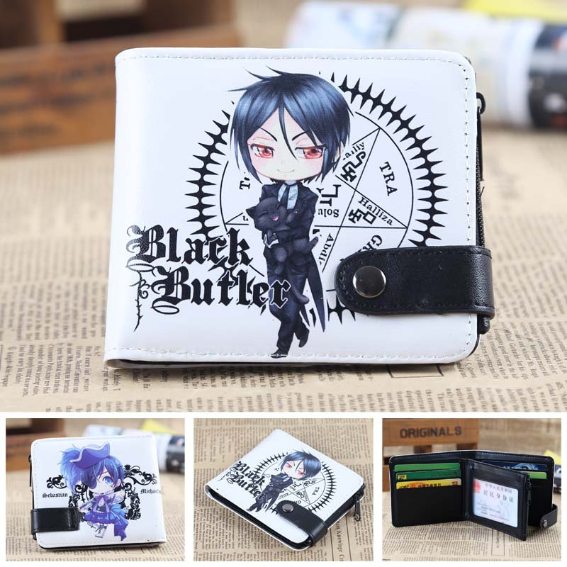 Black Butler Anime wallet Leather pu short Bifold Purse Cosplay student coin purse japan anime death note wallet cosplay long leather pu zipper purse