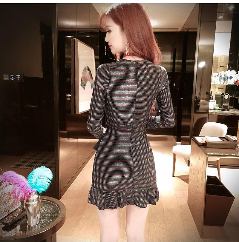 Real shot New women's deep V-neck sexy nightclub dress 2019 fashion temperament hem fishtail pocket hip long sleeve dress 2