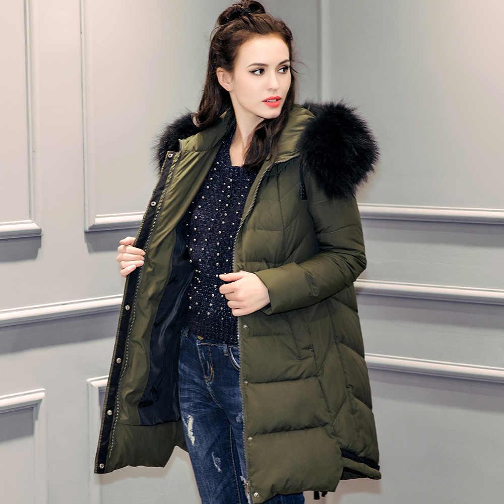 bb22565706c 2018 new designer natural Fur Collar Jacket Winter Women lady Hooded Parkas White  Duck Down Long