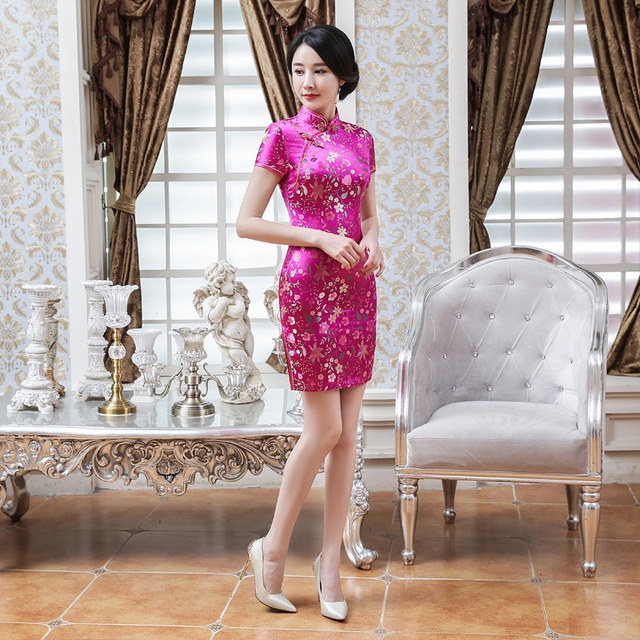 High Fashion Sexy Red Satin Cheongsam Vintage Women' s Qipao Handmade Button Short Sleeve Novelty Short Dress S-2XL LGD121-B