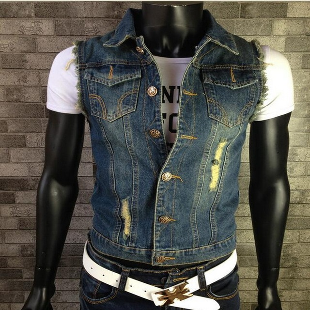 fbfb7f7f01d New 2016 Fashion Mens Denim Vest Vintage Sleeveless washed jeans waistcoat  Man Cowboy ripped Jacket Plus Size S-6XL Tank Top