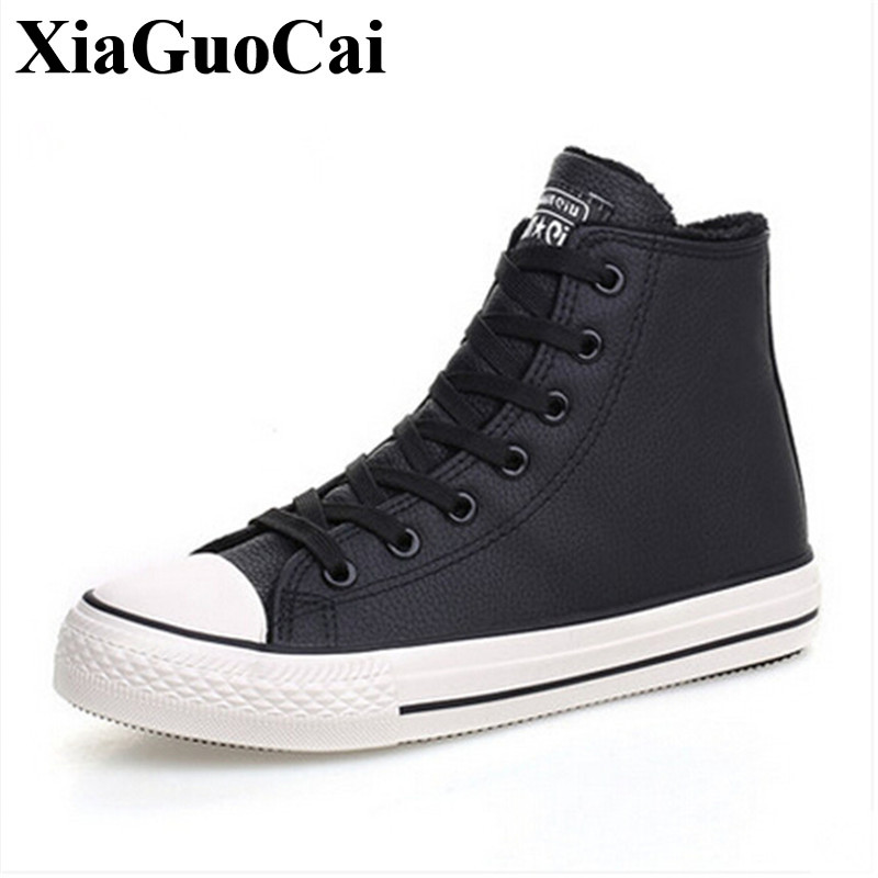 Fashion High Top Canvas Shoes Women Casual Shoes with Fur Warm Lcae-up Flat Shoes for Winter Black&white Canvas Shoes H413 35 hot sale 2016 top quality brand shoes for men fashion casual shoes teenagers flat walking shoes high top canvas shoes zatapos