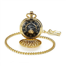 SHUHANG Brand Gold Plated Mens Skeleton Mechanical Hand Winding Pocket Watch Steampunk Watch w/Chain