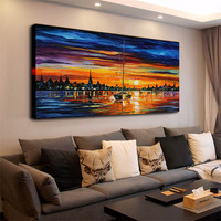 Oil Art Landscape Painting Print on Canvas Sea in the Sunset Scenery Wall Art Framed Abstract Seascape Decor Picture for Home