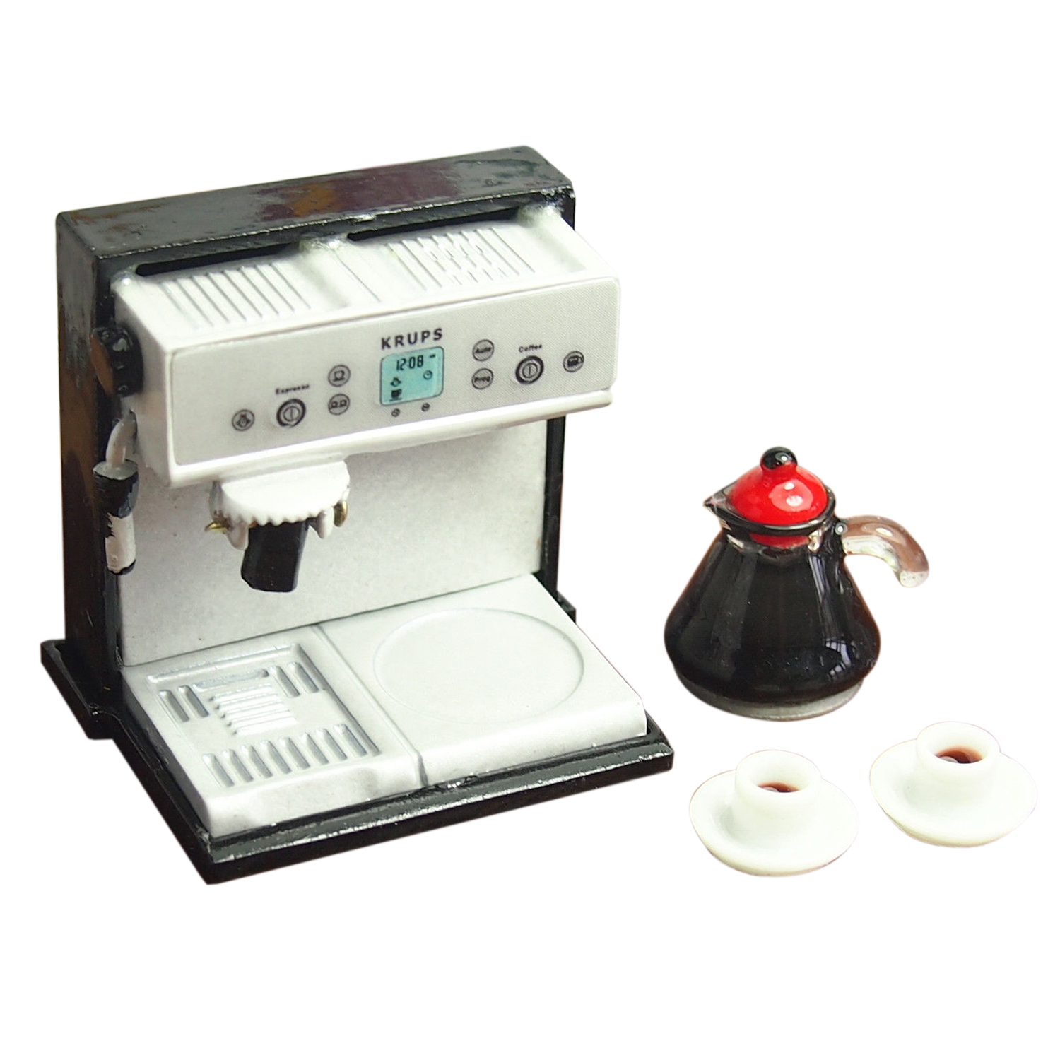 FBIL-Dollhouse Miniature Kitchen Metal Expresso Coffee Machine With Coffee