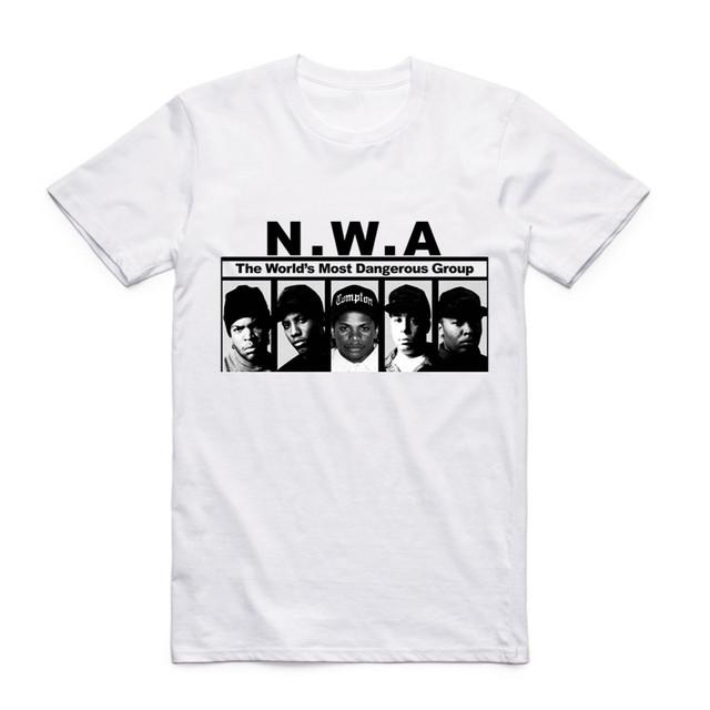 Fashion Men Print N.W.A Straight Outta Compton T Shirt O-Neck Short Sleeves Summer NWA Hip Hop Cool Streetwear Top Tee Swag