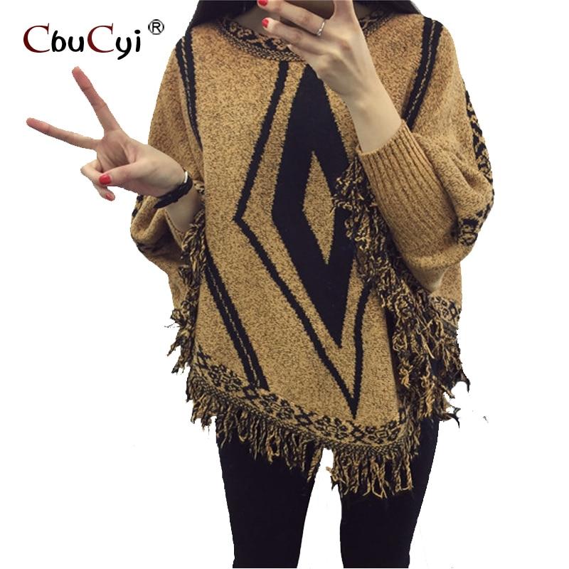 Borla capa bat camisa de cuello redondo jersey de cuello modelo geométrico moda