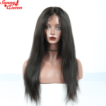 250% Density Italian Yaki Straight Lace Front Human Hair Wigs Brazilian Remy Hair Pre Plucked With Baby Hair Sunny Queen Product