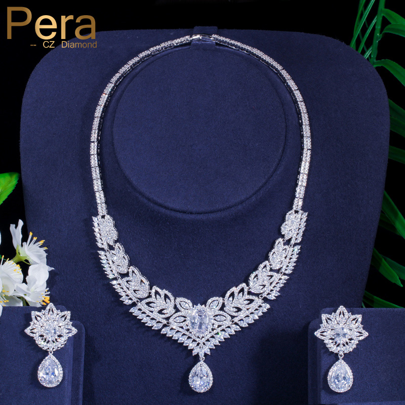 4eb64b727 Pera Luxury Brand Design Big Statement Long Dangle Drop Pendant Necklace  and Earrings Set for Bridal Wedding Party Jewelry J015