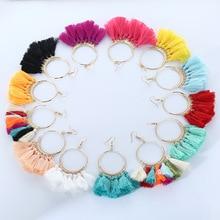 LZHLQ Tassel Earrings For Women Ethnic Big Drop Earrings Bohemia Fashion Jewelry Trendy Cotton Rope Fringe Long Dangle Earrings